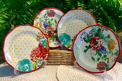 """Set of 4 Pioneer Woman Country Garden Jubilee 8.5"""" Mismatched Salad Plates"""