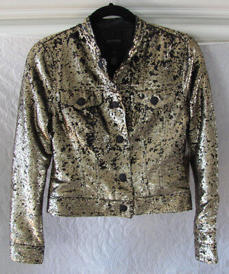 a0b76061fb True Religion Reversible Sequin Dusty Jacket- Gold Black- Womens XS -NWT   398