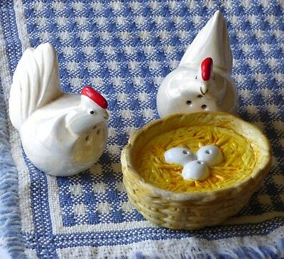 Vintage Salt and Pepper Shakers ~ Chicken Eggs Nest Ceramic SET OF THREE Pieces