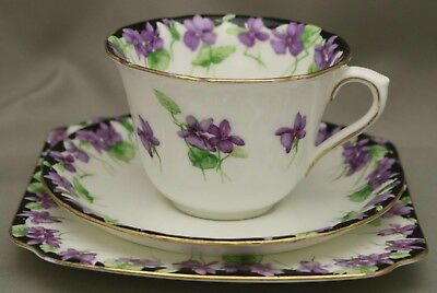 """Royal Doulton SeriesWare - Trio -*Cup/Saucer/Plate* - """"Violets"""" - H3747 - C.1934"""