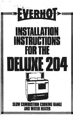 Vulcan Everhot Deluxe 204 Wood Stove Operating & Installation Instructions cd