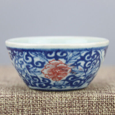 Chinese Old Underglaze Blue And Red Flowers Pattern Porcelain Tea Cup