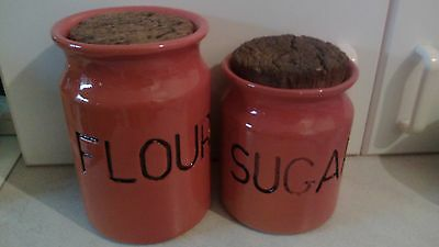 FLORENZ AUSTRALIA 2 ORANGE-GLAZED FLOUR & SUGAR JARS w CORK LIDS Signed