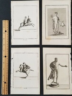 1780 Authentic Antique COPPERPLATE Engraving PRINT-Lot of 4
