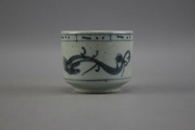 Chinese Old Blue And White Double Dragon Pattern Porcelain Kungfu Tea Cup