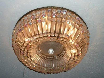 Vintage Crystal and Brass Flush Mount Light Fixture - Large (24 Inches!!)
