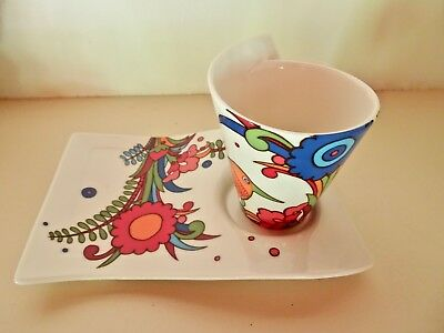 Villeroy & Boch Acapulco New Wave Mugs Cups and Saucers As New Unused Retro