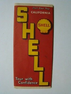 Shell Gasoline Gas Station California Road Map 1939