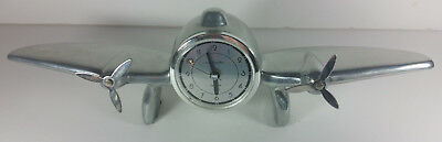 Sarsaparilla Metal Airplane Clock Vintage Propeller 13in 1984 Quartz Art Deco