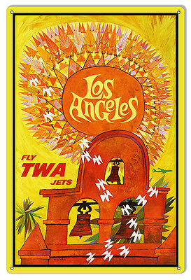 TWA Airlines Los Angeles Reproduction Nostalgic Travel Advertisement Sign 12×18