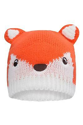Mountain Warehouse Knitted Hat Orange with Fun Fox Design&Covered Ears-One Size