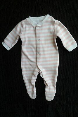 Baby clothes GIRL premature/tiny<7.5lbs/3.4k pink/white stripe babygrow SEE SHOP