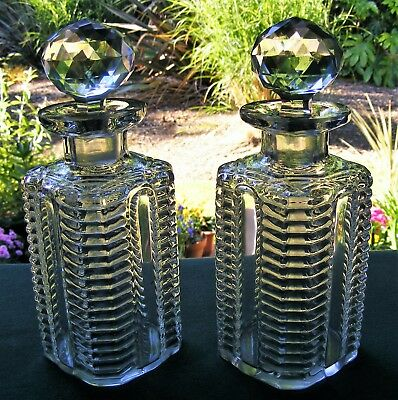 Pair Of Victorian / Edwardian Square Whisky Decanters + Stoppers