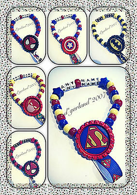 Personalised Dummy Saver Clip Marvel, Avengers, spiderman, superman, batman