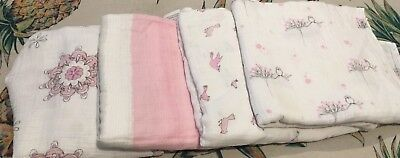 4x Girls Aden And Anais Muslin Rugs Large Size 120x120