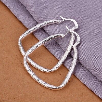 Womens Hook Silver Ear Stud Twisted Earrings Fashion Jewelry 925 Sterling Silver