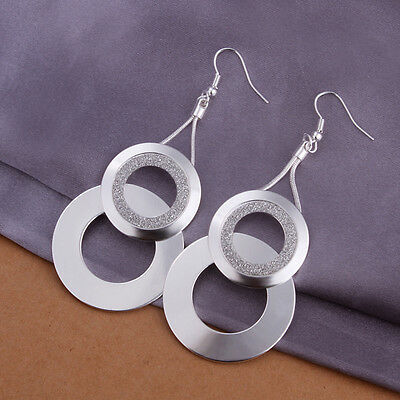 Women Silver Jewelry Wedding Earrings Dangle Hook 925Sterling Silver Ear Earring