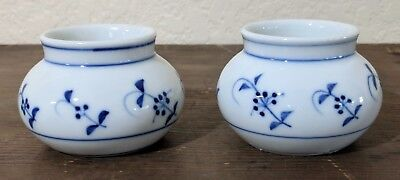 Antique Bayeux French Porcelain Blue White Two Small Pots Bowls
