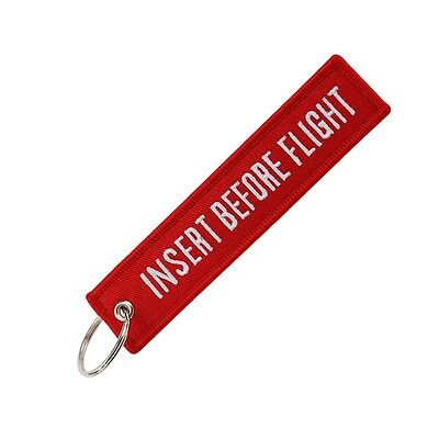 Insert Before Flight Pilot Embroidered Keychain Motorcycle Car Key Tag Keyring