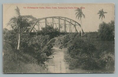 Vuelta Abajo CUBA Rare Antique—Iron Bridge—Lace Store Advertising PC-Size HAVANA