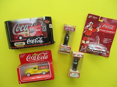 5 COCA-COLA Collectibles  Bottle Ornaments, Car, Delivery Trucks