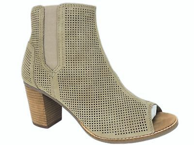 206fce691c2 TOMS Women s Majorca Peep-Toe Perforated Booties Stucco Suede Size ...