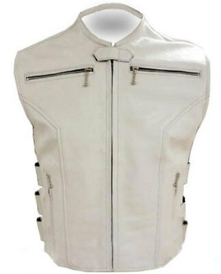 Mens Real Cow Leather White Motorcycle Biker Style Vest Waistcoat