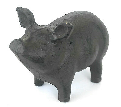 Cast Iron Pig Hog Garden Statue Outside Farm Country Yard Decor Metal Small
