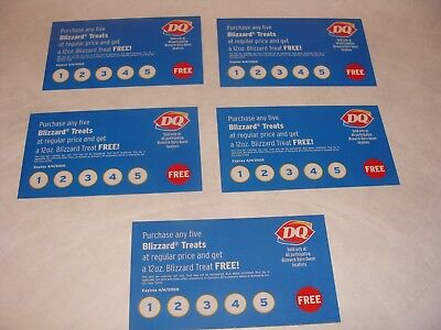 dairy queen free quency Blizzard Treat Punch Cards 5 Cards