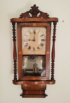 Antique Inlaid American Drop Dial Wall Clock Circa 1880 Working Order