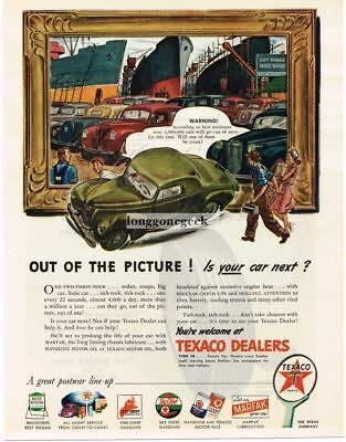 1945 Texaco Is Your Car Out Of The Picture art Vtg Print ad