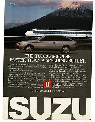 1986 ISUZU Turbo Impulse Silver 2-door Coupe Racing Bullet Train VTG PRINT AD