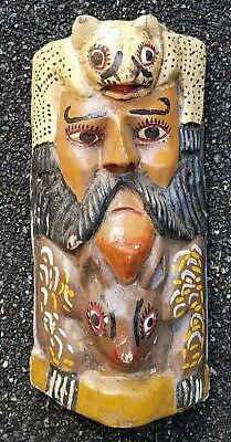 Carved Painted Wood Mexican South American Mask Folk Art Leopard Man DeerTribal