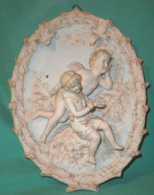 wallhanging bisque relief, angel with girl/ bisque/Germany