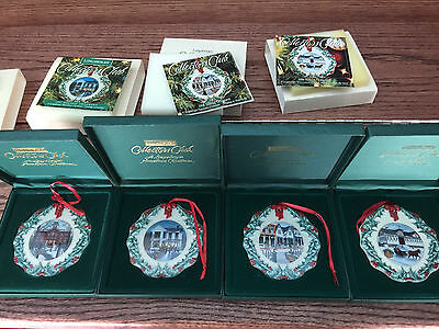 Longaberger Hometown Christmas Ornaments Set of 4 Collectors Club Exclusive