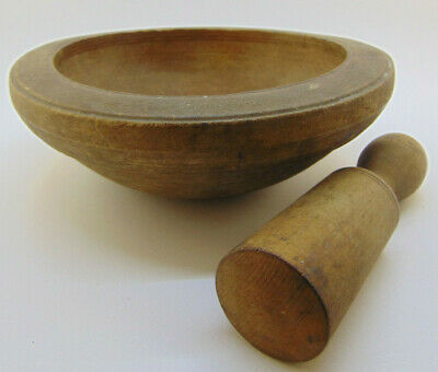 Antique Primitive Old Wooden Cup Mortar And Pestle For Spices / Vintage Wood