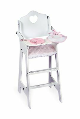 Badger Basket White Doll High Chair with Plate, Bib, and Spoon