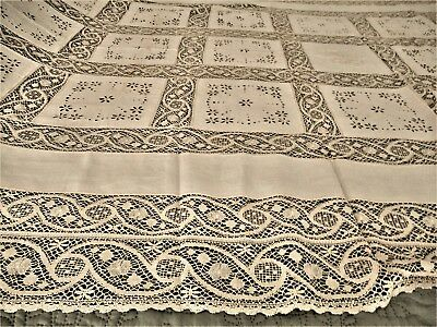 "Vintage Banquet Tablecloth, Irish Linen/Lace Inset/Embroidry Cutout-112"" x 64"""