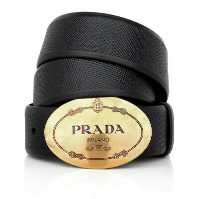 Prada Round Logo Saffiano Leather Belt 34/85