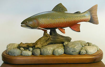 Beautiful Hand Carved Fish - Full Mount Brook Trout By Harold Walker