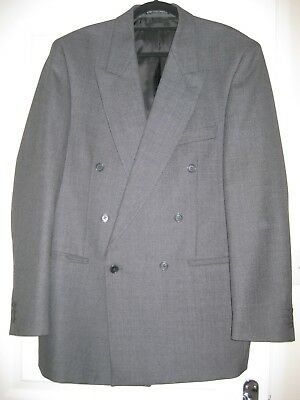 """Men's Double Breasted Bhs Tailored Jacket In Grey Fleck 100% Wool Size 40"""" Long"""