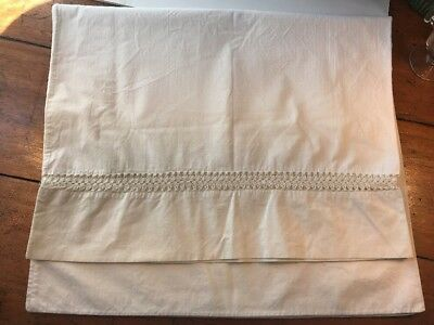 Vintage White on White Tatted Detail Cotton Percale Pillowcases 19.5 x 31.75""