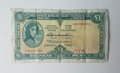 Ireland 1 Pound Banknote - The Central Bank of Ireland 1964 - Rare!