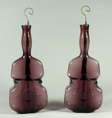 Amethyst or Purple Glass Pair of Violin Bottles - Viobots - with Metal Hangers