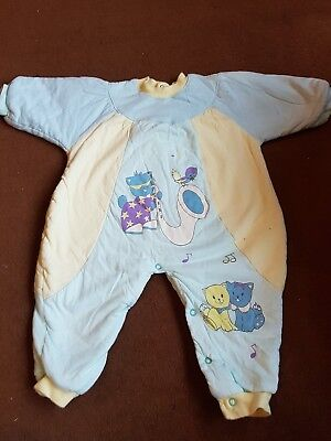 Vintage Retro Winter Padded Unisex Baby Romper All In One 80s 90s