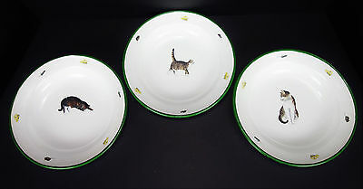 3 Vtg Enamel over Metal Plates Cats French Country Farmhouse Decor
