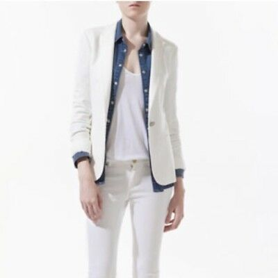 Zara Basic White Blazer One Button Lined Small