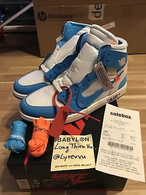 reputable site 40670 50623 Nike Off White Jordan 1 Retro High UNC Powder Blue US8.5 UK7.