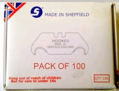 100 Hooked Hook Blades Heavy Duty Fits Dolphin Delphin Knife Made In Sheffield