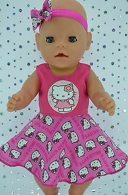 """Play n Wear Doll Clothes To Fit 17"""" Baby Born HOT PINK CIRCLE DRESS~HEADBAND"""